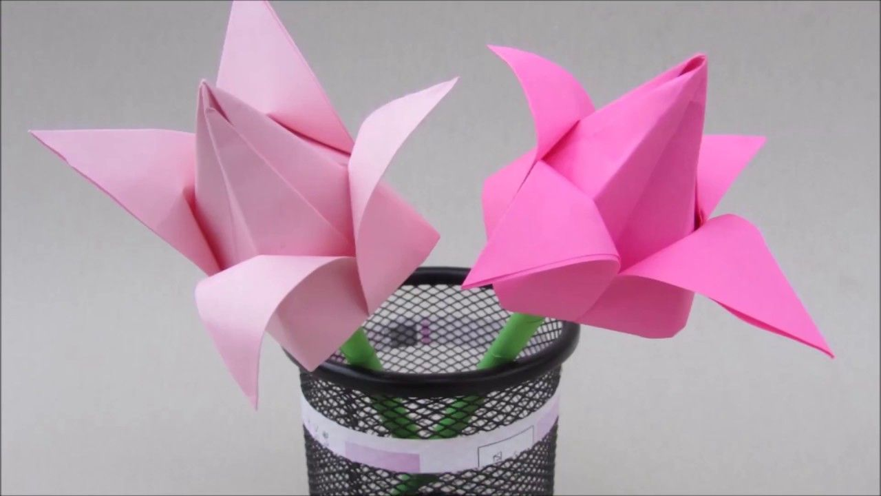 Tulip Flowers Origami How To Paper Craft Easy For Beginner