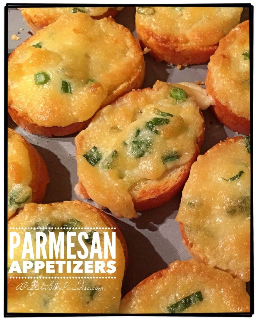 Parmesan Appetizers | #APeekIntoMyParadise.com #appetizer #frenchbread #Kraft #Mayonnaise #parmesancheese #recipe