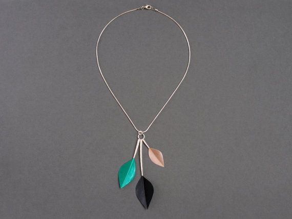 Statement Minimal Leaf Feather Necklace by Stilltreejewellery on #Etsy