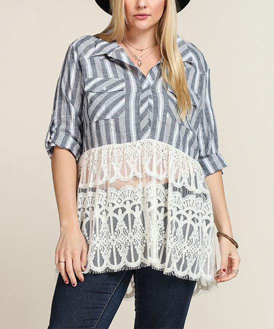 Charcoal & Off-White Stripe Lace Collared Swing Tunic