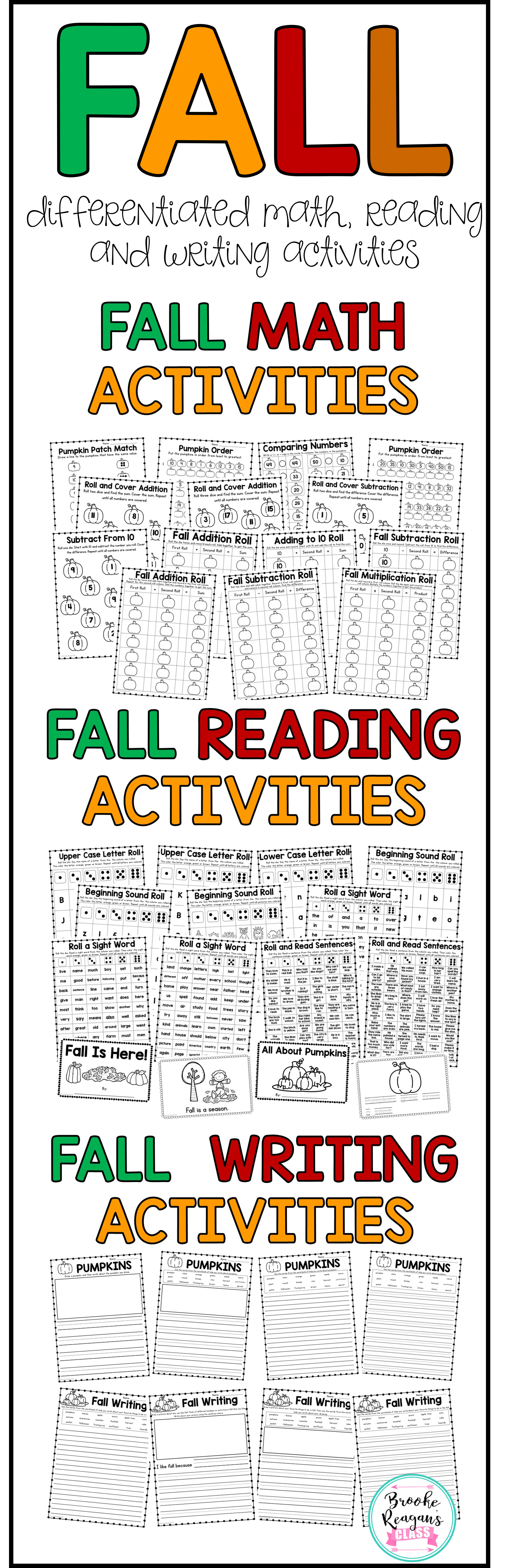 Fall Differentiated Math And Literacy Activities For