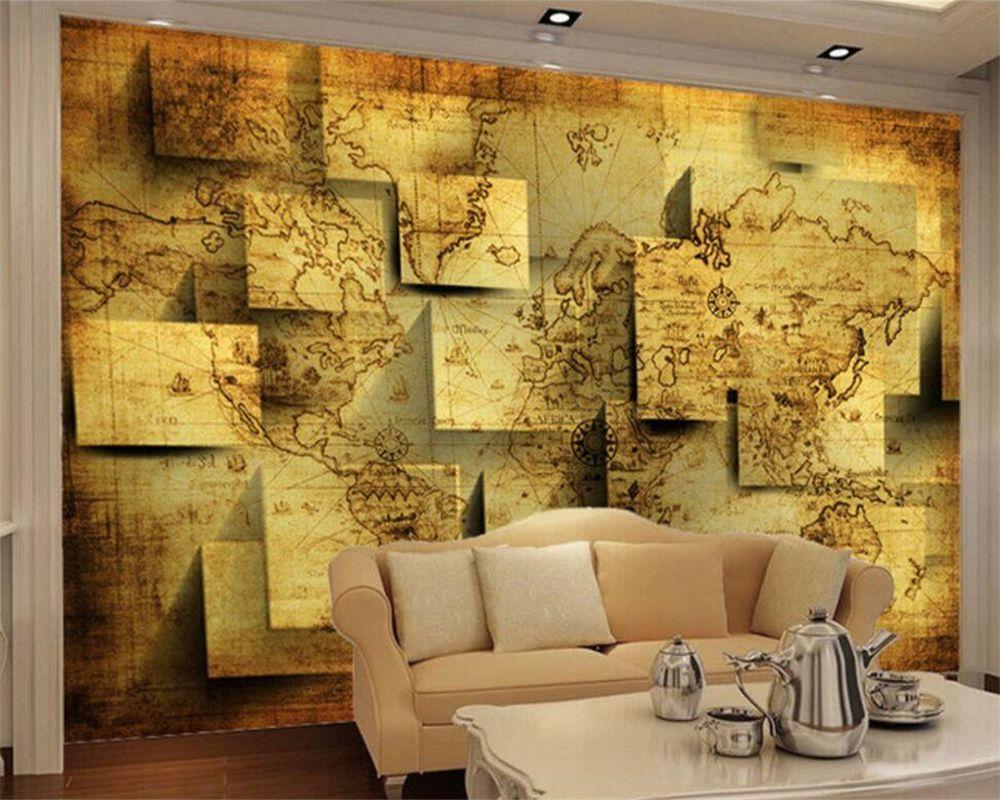Beibehang Custom Wallpaper Living Room Bedroom Mural 3D World Map ...