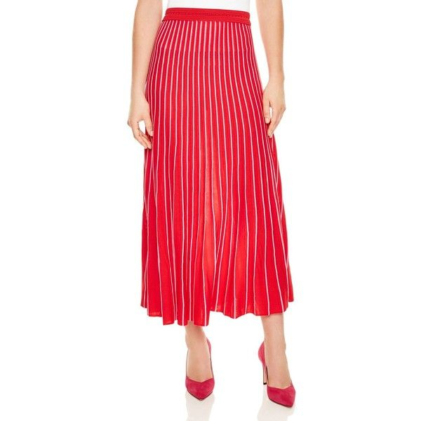 54cac9c95 Sandro Shryl Pleated Striped Midi Skirt (1,000 SAR) ❤ liked on Polyvore  featuring skirts, red, stripe skirts, calf length skirts, red pleated skirt,  ...