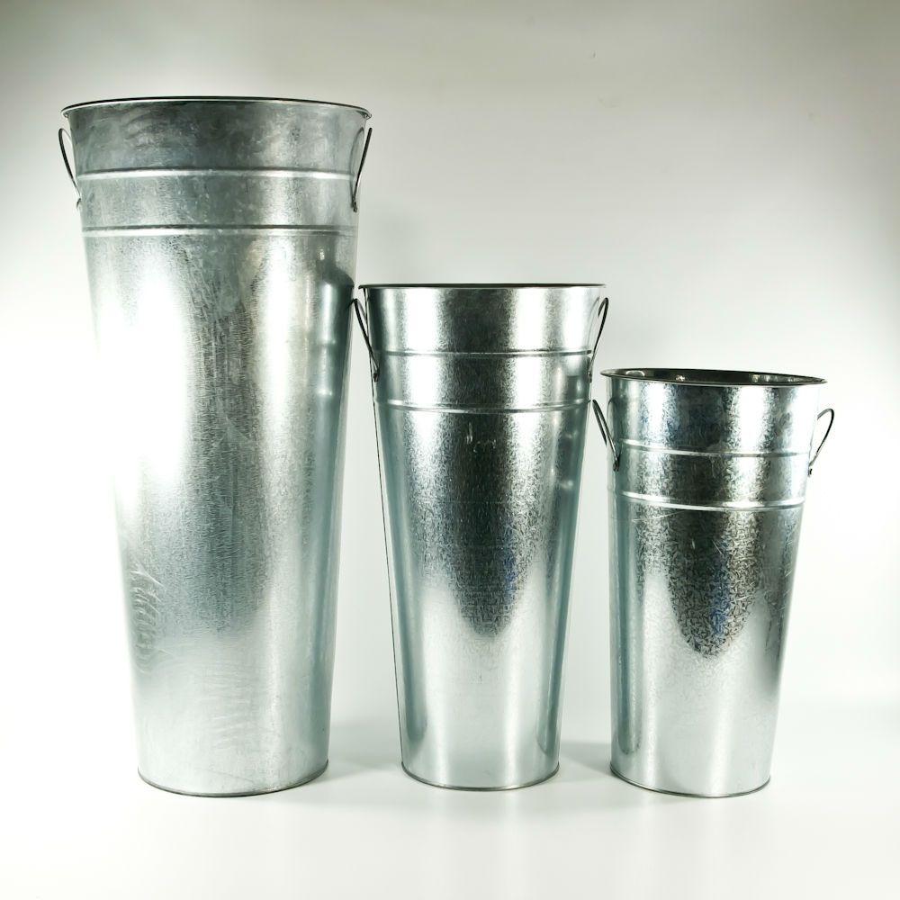 15 glavanized metal french flower buckets for Large galvanized buckets for flowers