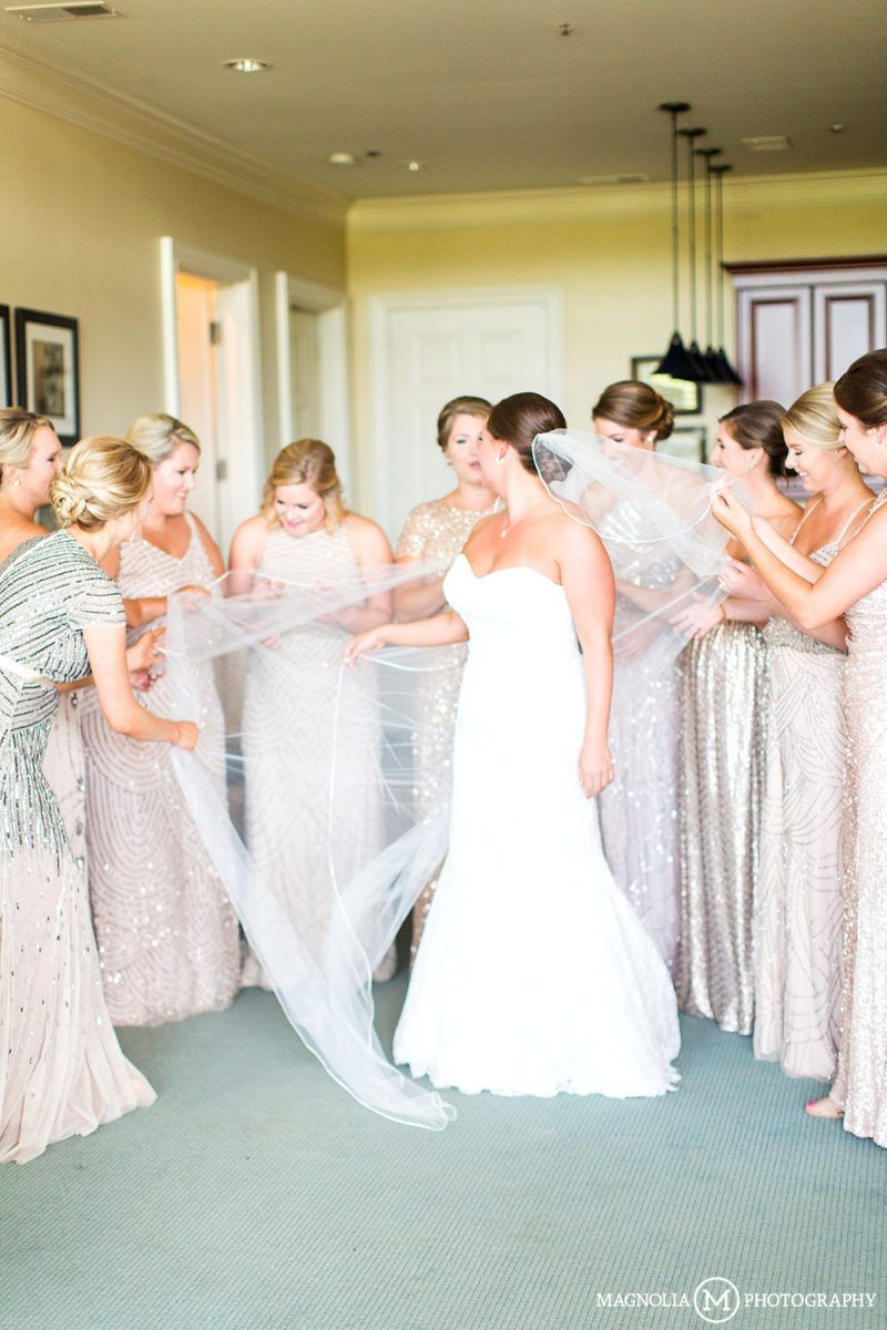Champagne gold bridesmaid dress from adrianna papell river landing