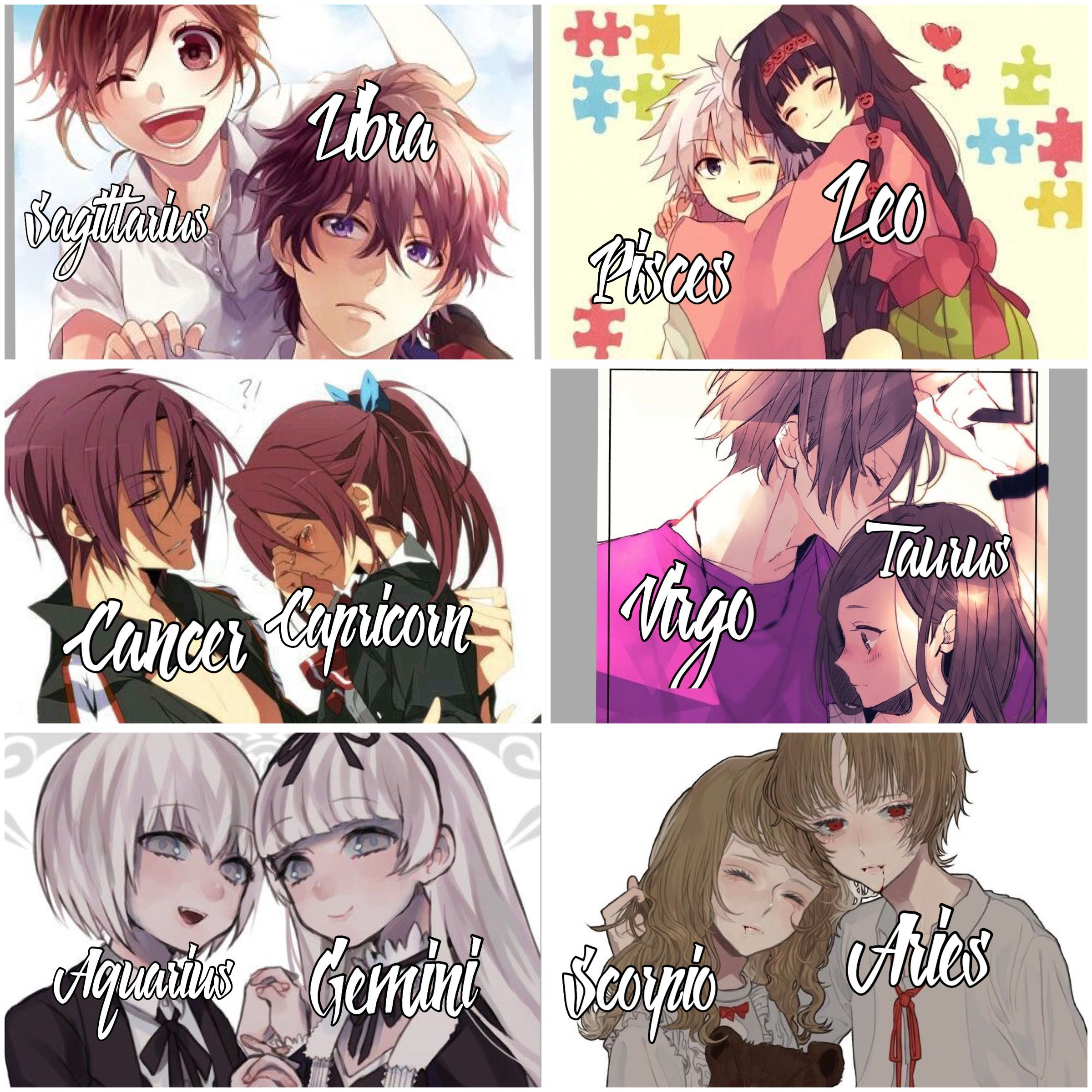Couple Drawing Zodiac Signs Drawings Anime