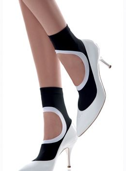 Emilio Cavallini Circle Cut-out Monochrome Socks hosiery from Popgloss - a daily womens shopping magazine with the latest and best designed womens clothing, boots, bags, jewelry accessories and makeup