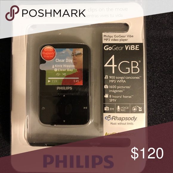 Philips Gogear Vibe 4 Mp3 Video Player Download Videos Pictures Listen To Music Or Fm Radio On This Portable Video Player Phil Video Player Philips Players