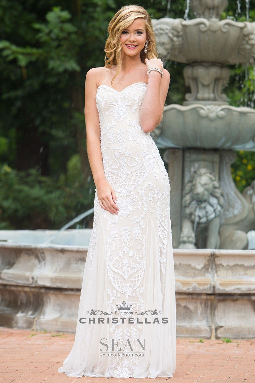 Sweet meets stunning in this floor length fully beaded sweetheart