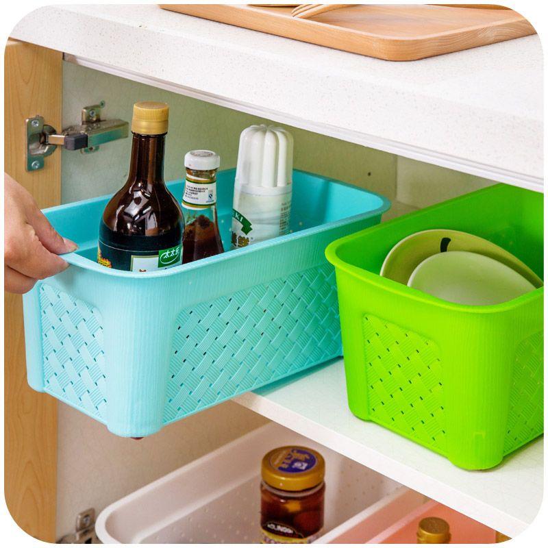 Home Kitchen Rectangular Plastic Storage Basket Basket Bathroom Custom Bathroom Storage Containers Inspiration Design