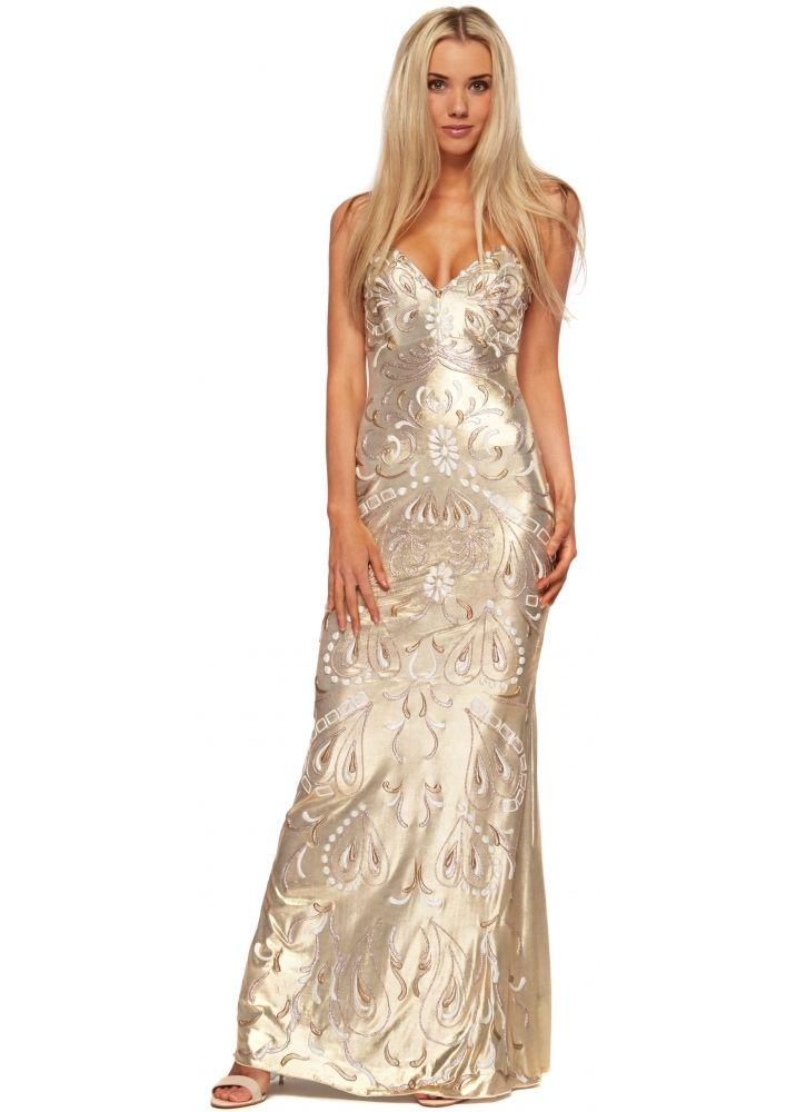 Gold Metallic Painted Bustier Evening Dress | D d | Pinterest