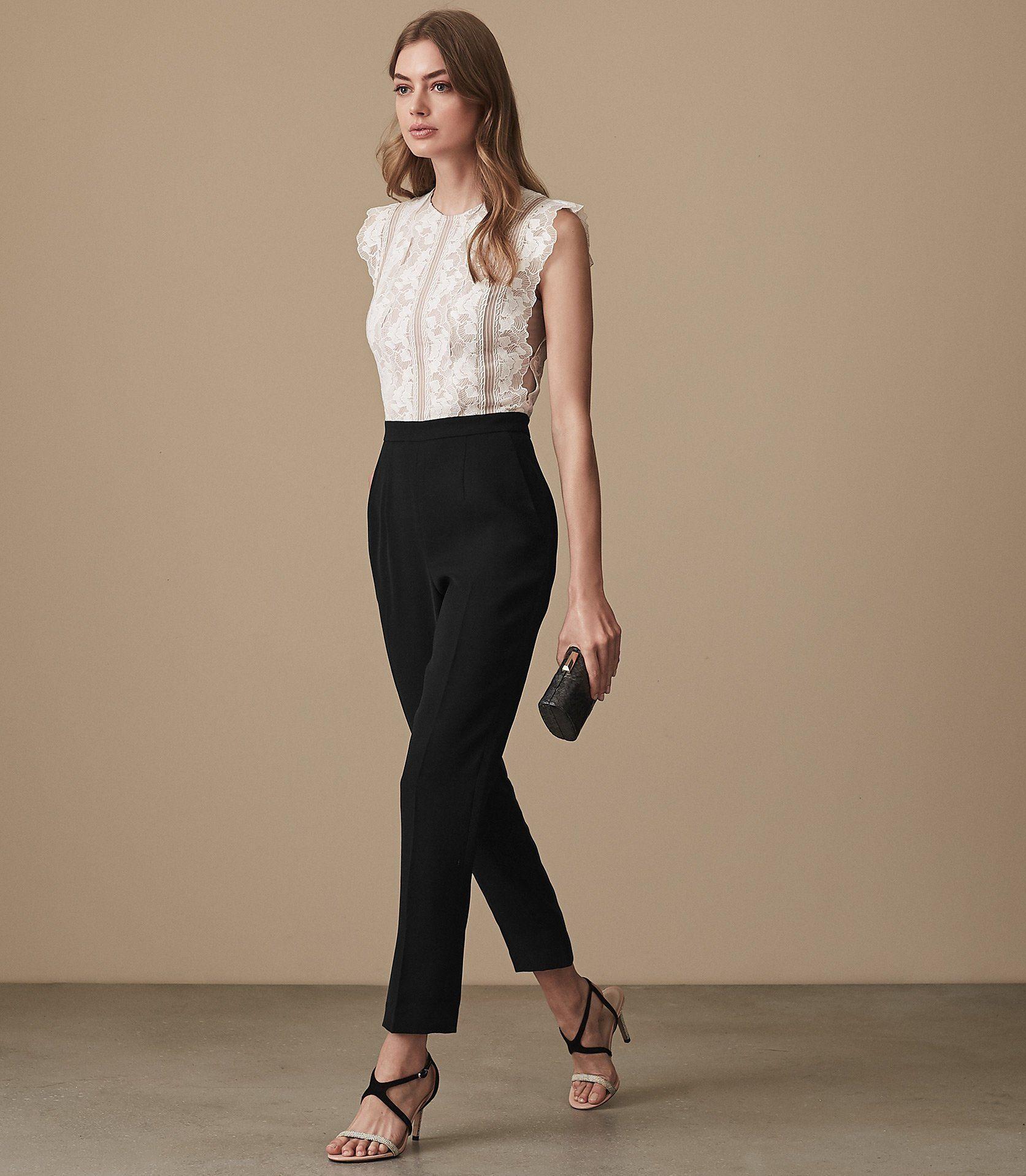c0349c572e4 Suzy Lace Detail Jumpsuit - REISS