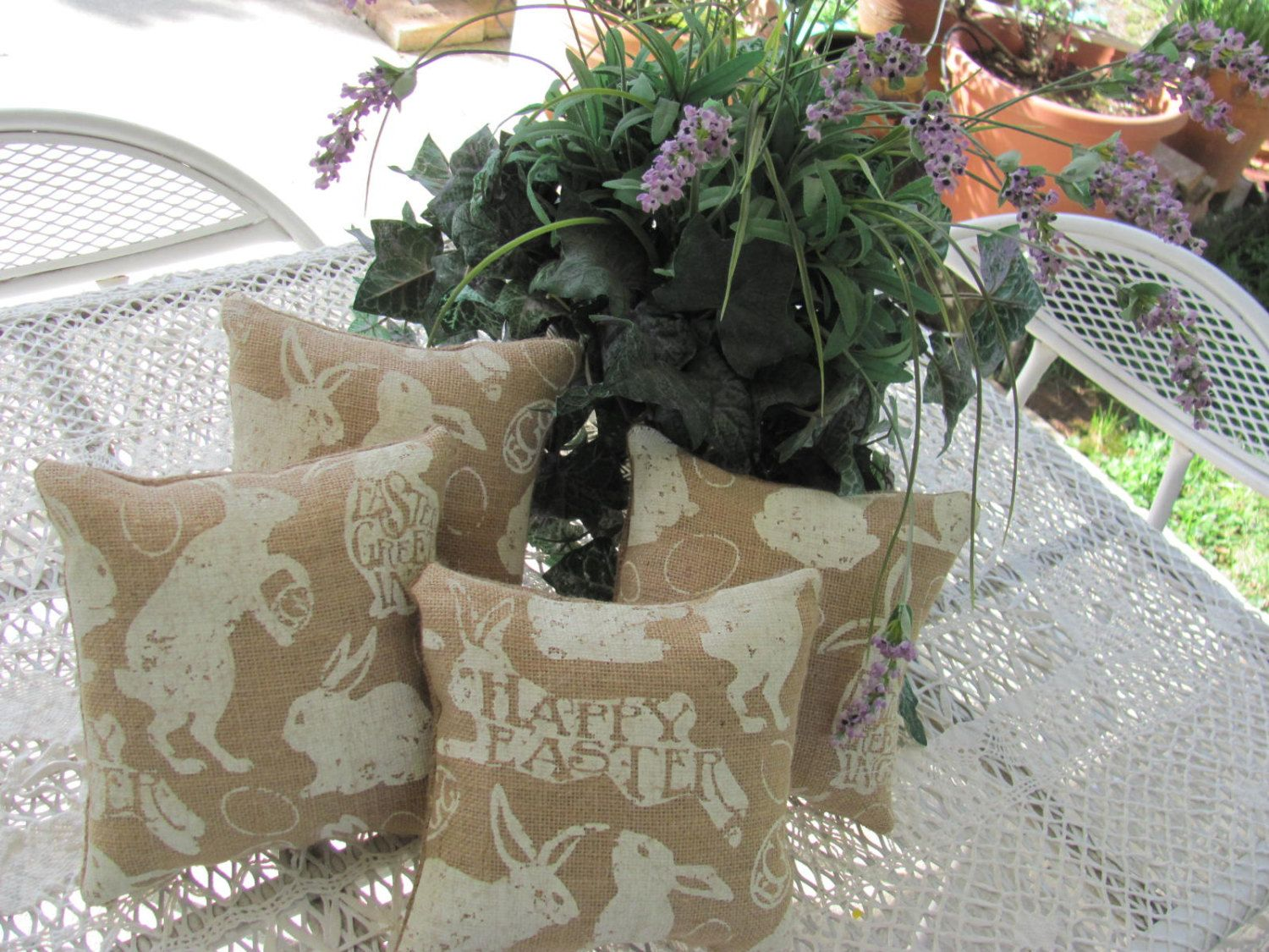 Available til Mr.17th..It' a Smaller Plump Easter Bunny Burlap Pillow, Happy Easter Decor 9E by THISPLUSTHAT on Etsy