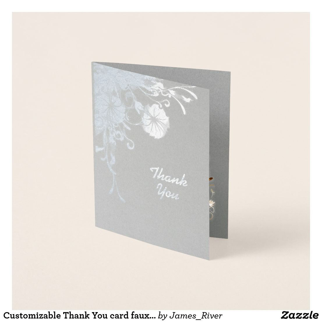 Customizable Thank You Card Faux Silver Florals