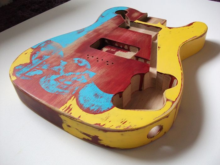 Electric Guitar Body Painted By Rock Artist Studios Ltd.