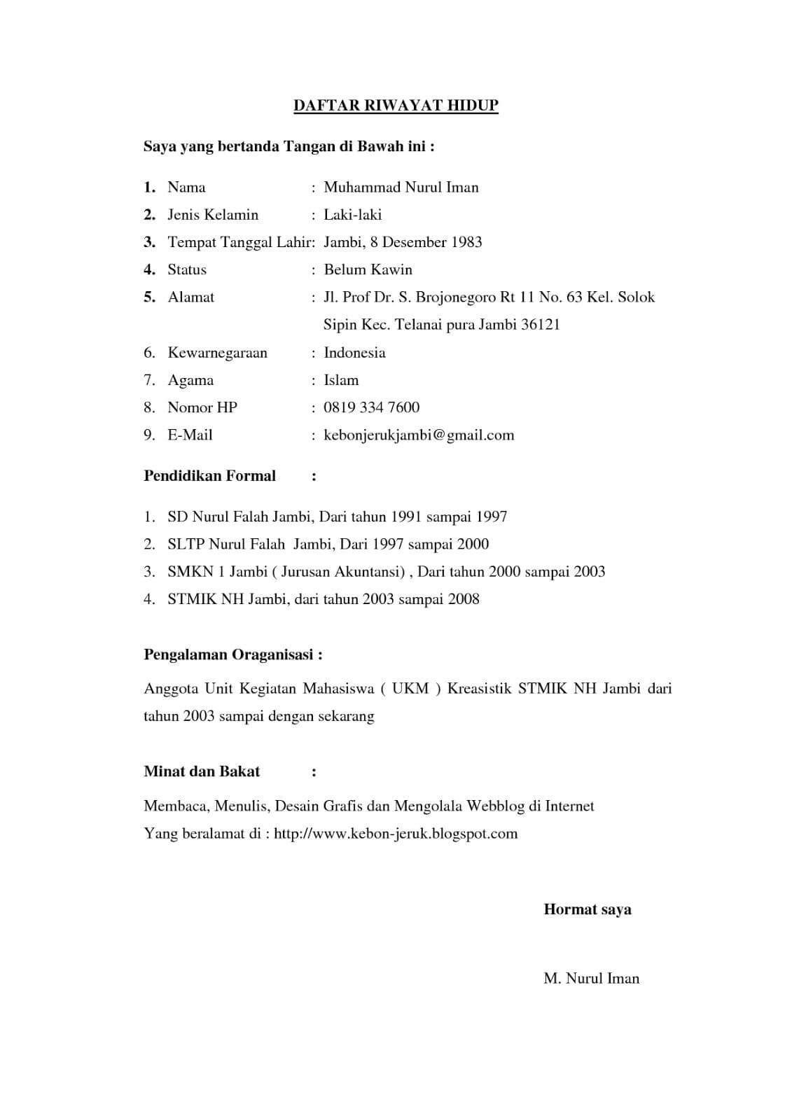 15 Contoh Daftar Riwayat Hidup Curriculum Vitae Cv Terlengkap Riwayat Hidup Hidup Desain Cv