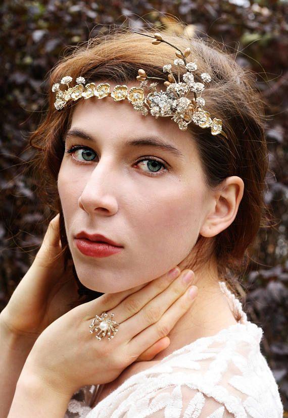 Gold flower crown floral crown Rustic bridal tiara boho gold