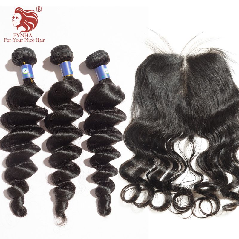 브라질 처녀 머리 탄력 웨이브 머리 번들 레이스 클로저 당신의 좋은 머리 무료 배송 뜨거운 판매 헤어 제품