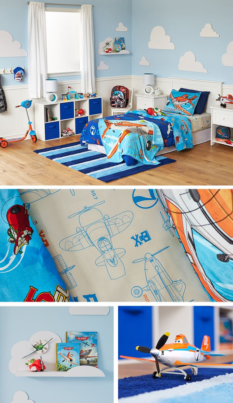 Land this: Disney Planes DIY bedroom makeover featuring Dusty and the gang.