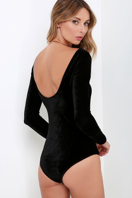 2c9a2b9b13 Sexy Black Velvet Bodysuit - Long Sleeve Bodysuit - Velvet One-Piece -   33.00