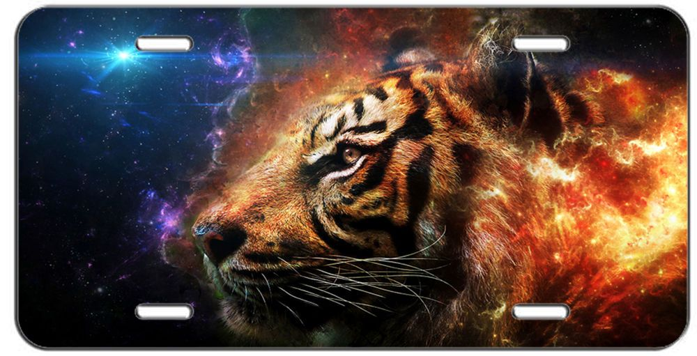Details about license plate galaxy tiger auto tag custom