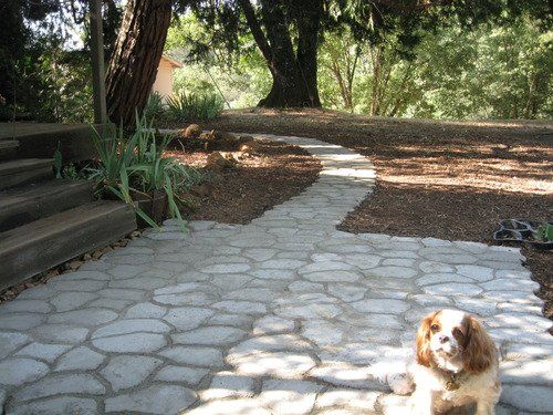 Pathmate Random Stone Mold : Patio With A Path. Used 45 Bags Of Concrete.  Also Used Quikrete® Powerloc® Jointing Sand Between The Stones. Easy To Use.