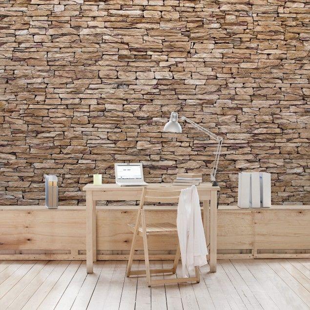 Tapete #Steinwand - #Vliestapete Crete Stonewall - Fototapete Breit - steintapete beige wohnzimmer