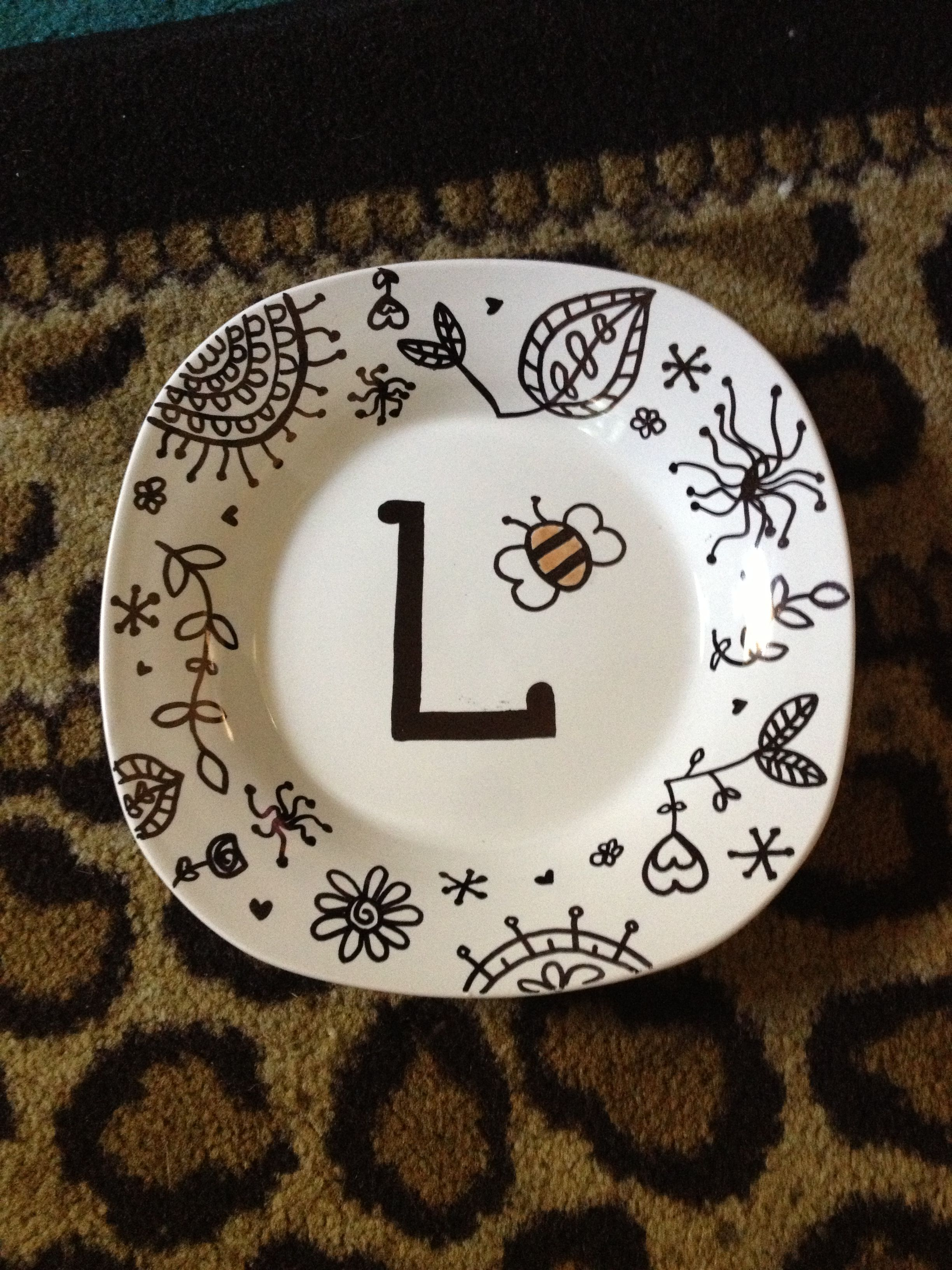 Sharpie on a ceramic plate! Bake for 30 mins at 355 degrees and it becomes & Sharpie on a ceramic plate! Bake for 30 mins at 355 degrees and it ...