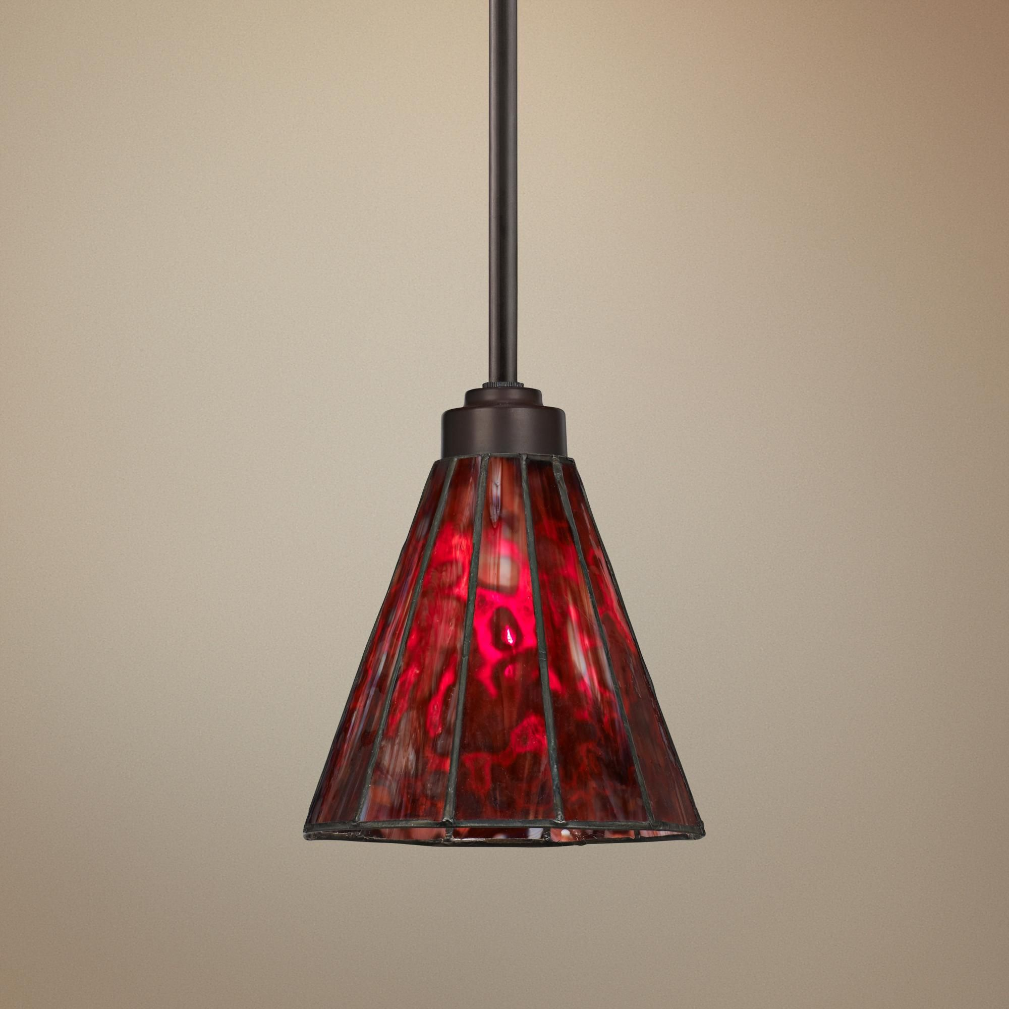 Tiffany Style 7 1 2 Wide Red Glass Mini Pendant Light Vintage