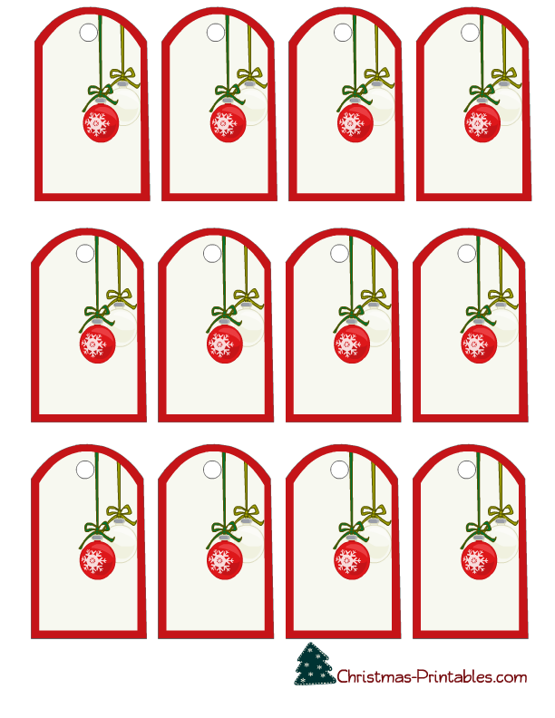 elegant gift tags featuring christmas ornaments printable tags