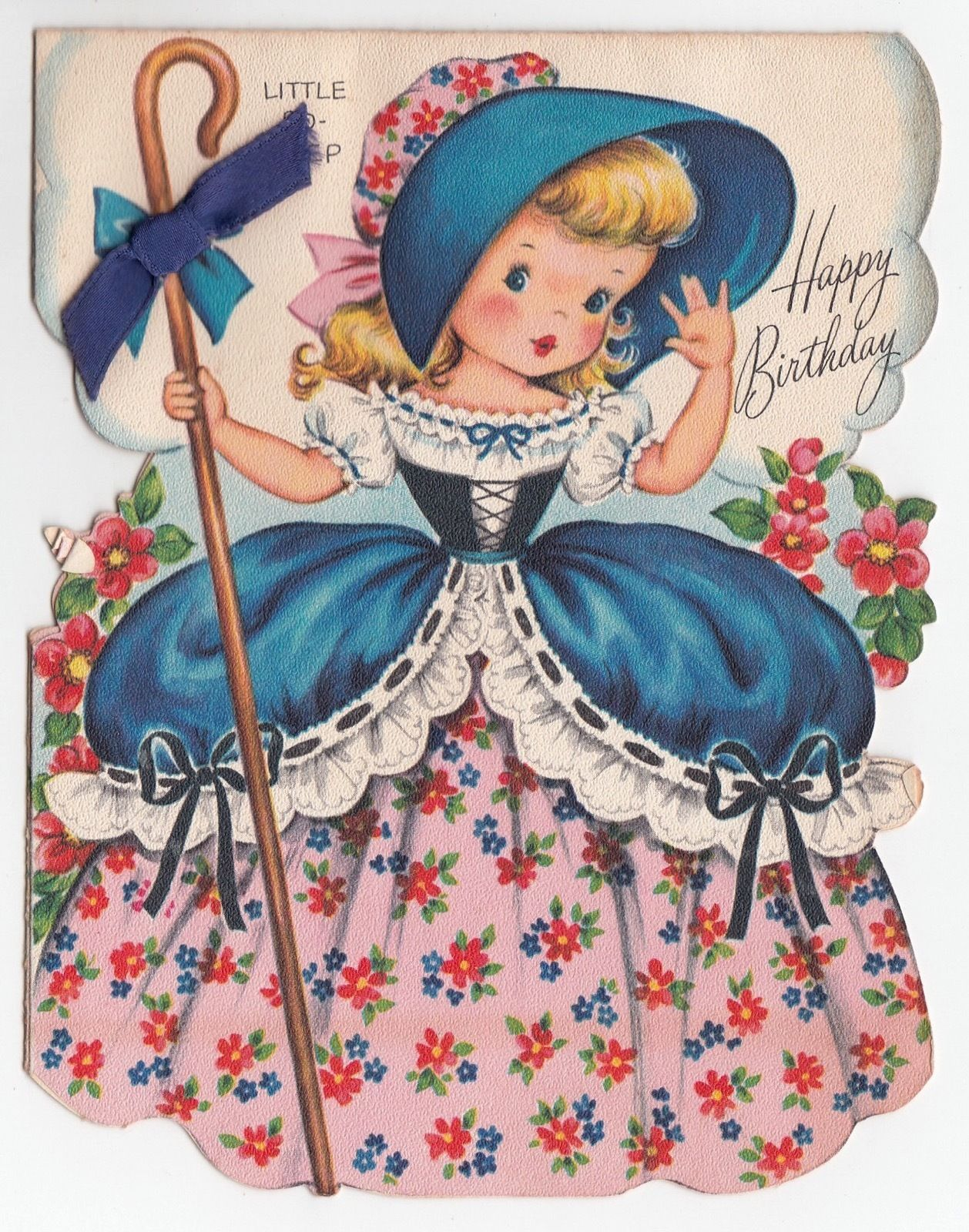 Vintage greeting card cute little girl die cut little bo peep vintage greeting card cute little girl die cut little bo peep fairfield ebay kristyandbryce Image collections