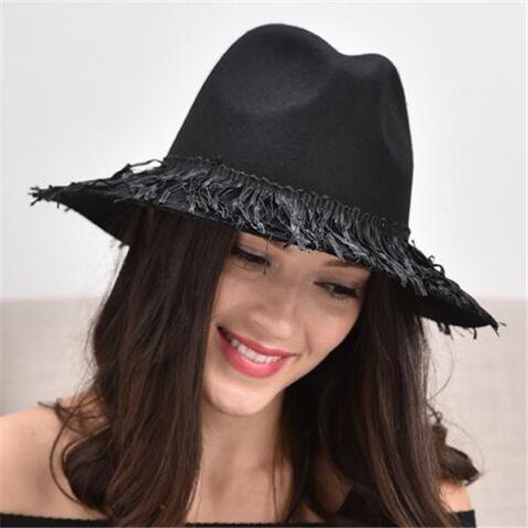 8f72e31c0d1 Plain black wool fedora hat for women winter fringe felt hats wide brim