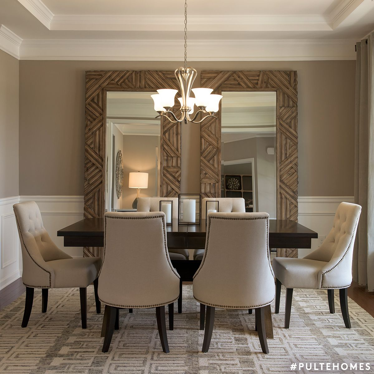 Double Mirrors Are A Great Way To Add Depth And Make Your Dining Space Appear More Grand Pulte Mirror Dining Room Elegant Dining Room Dining Room Small