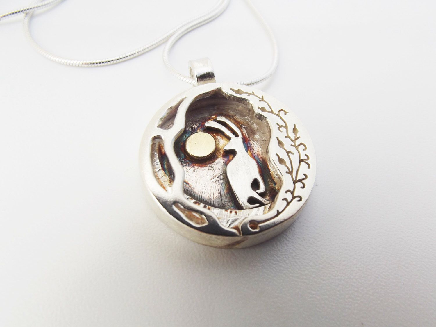 Hare and moon pendant, silver and gold, hare, moon, tree branch ...