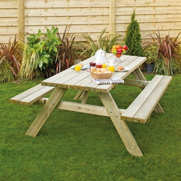 Grange Rectangular Wooden Garden Picnic Table With Fold Up