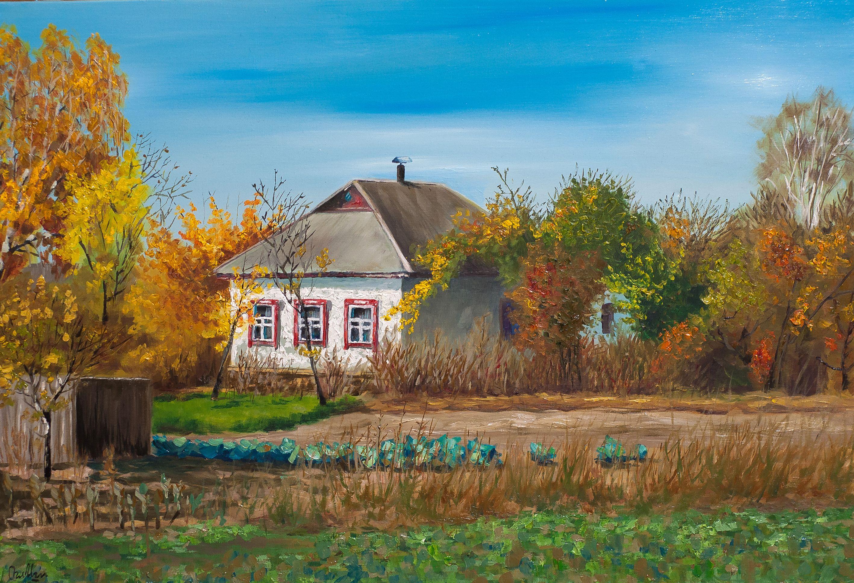 Original Ukrainian House Oil Painting Autumn Landscape Canvas