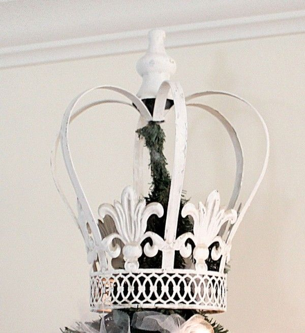 Shabby chic crown tree topper