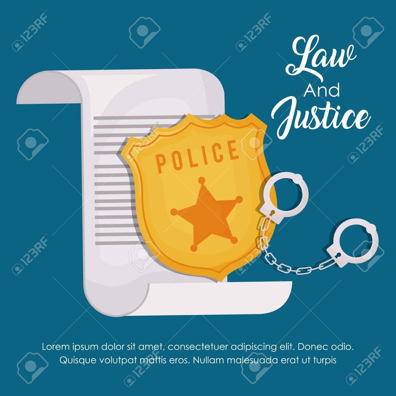Law and justice design with police badge illustration on