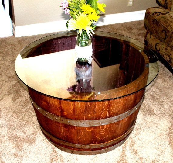 wine barrel coffee or end table bois tonneau de vin. Black Bedroom Furniture Sets. Home Design Ideas