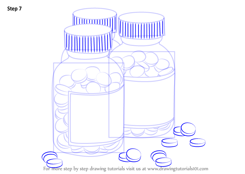 Learn How To Draw Medicine Bottles Everyday Objects Step By Step Drawing Tutorials