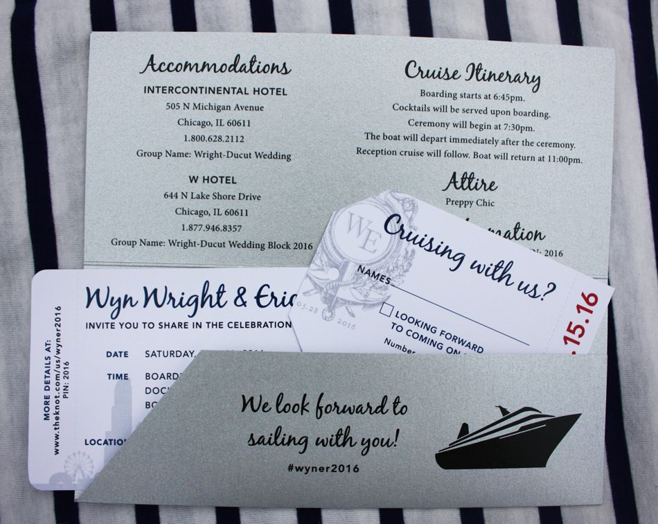 navy silver white chicago skyline yacht cruise boarding pass wedding invitations - Cruise Wedding Invitations