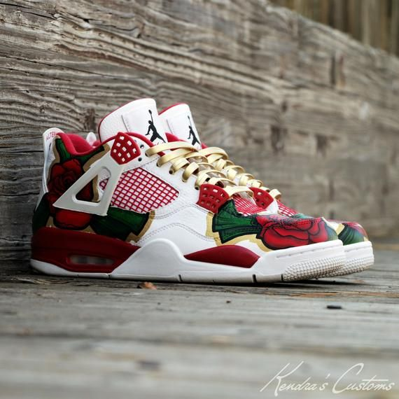brand new 5baac 3dc7a Custom Hand Painted Cash Rose Jordan Retro 4 Men's Size 10.5 ...