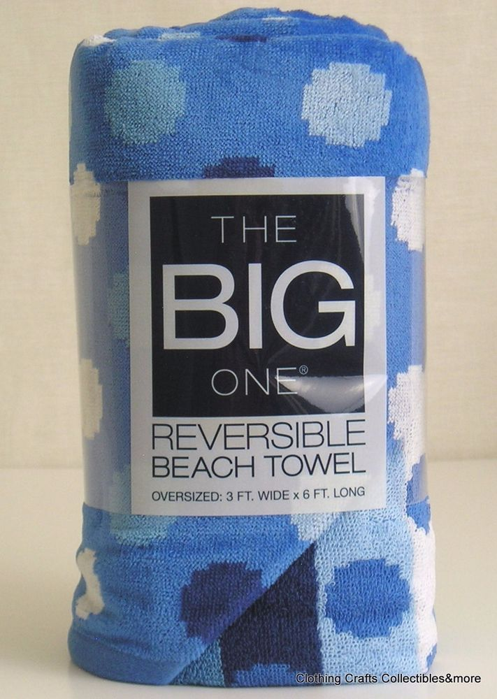 The Big One Beach Towel Blue White Dots Oversized Reversible 3 X