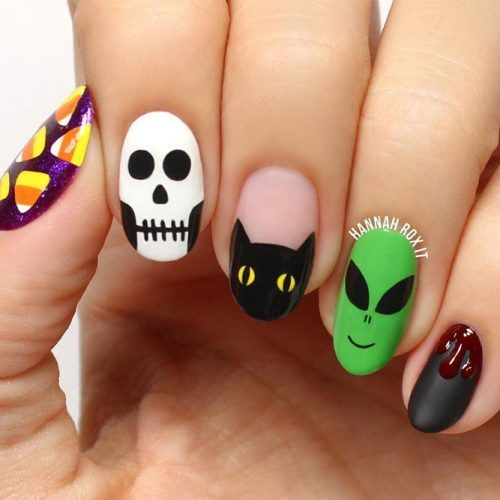 41 Cute And Creepy Halloween Nail Designs 2020 | Uñas de ...