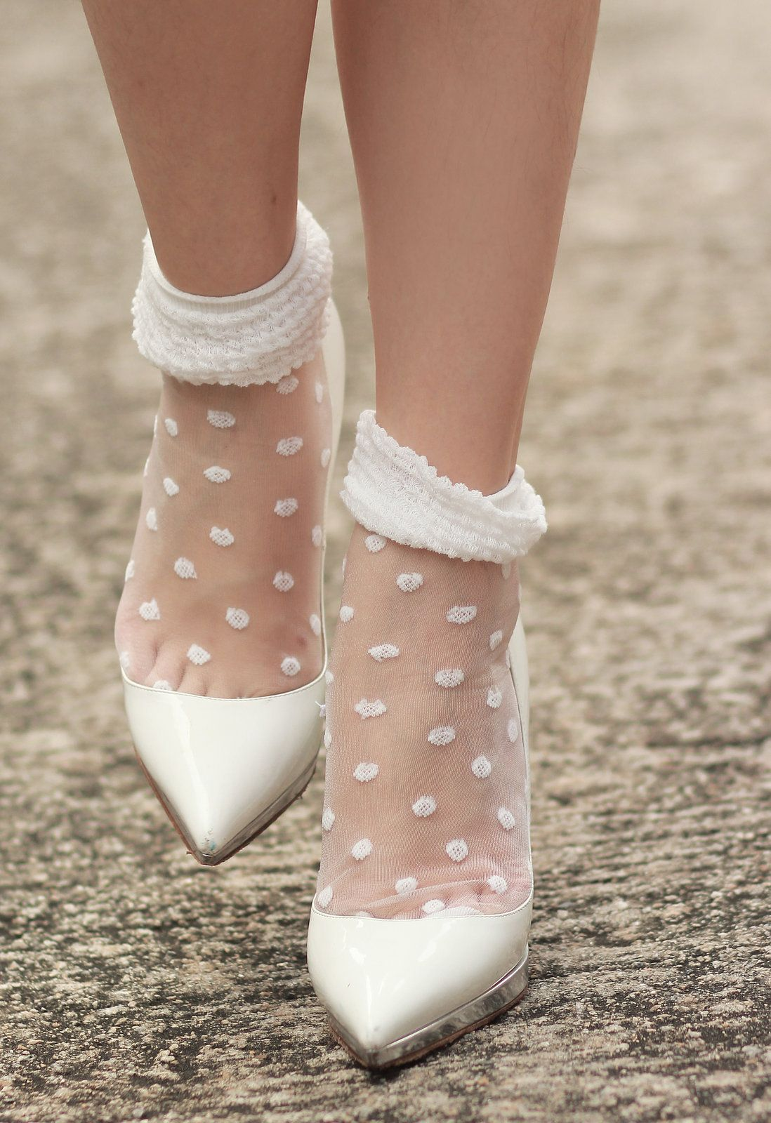 Sheer dainty socks with heels. Love this retro 80 s style....  white   stilettos  polka  dots  fashion  style 401decc30