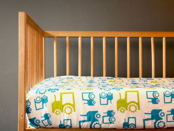 Organic Modern Crib Sheet Blue Tractors Baby Boy By Newmomdesigns Bedding