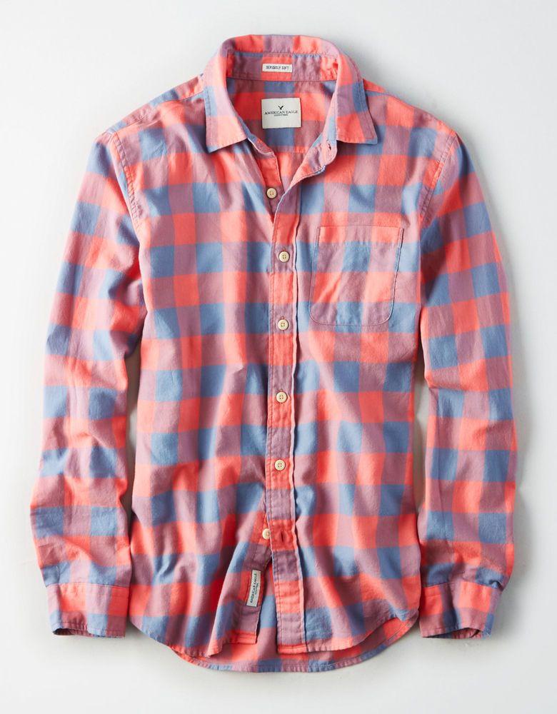 American Eagle AEO Men/'s Button Front L//S Shirt Blue M Medium