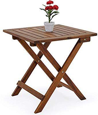 d2a56dc3 Deuba Mesa auxiliar de jardín madera de acacia mesita de café exterior plegable  mesa de centro