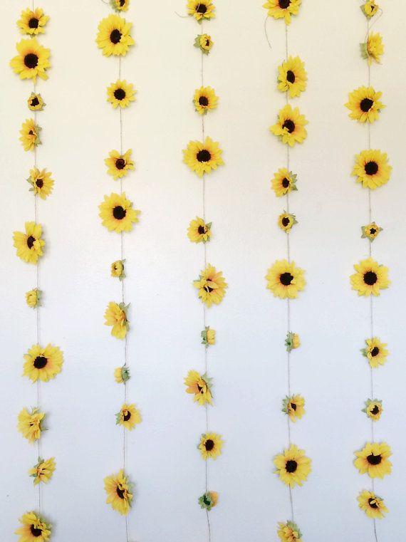 Sunflower garland college room decor high quality silk sunflowers large summer photoshoot chain pinterest  also summery rh