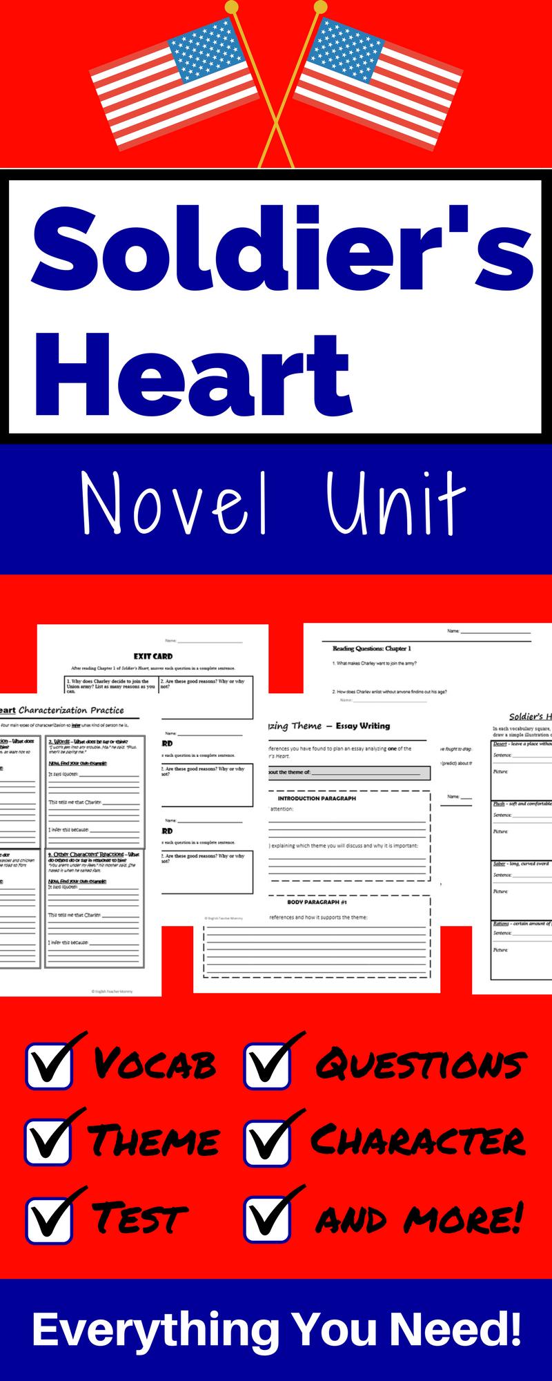 Soldier's Heart Novel Unit Bundle Distance Learning